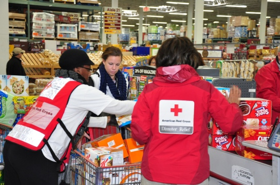 American Red Cross Southeastern PA staff and volunteers shop for food and supplies at BJs in Hamilton, NJ on Nov. 4, 2012