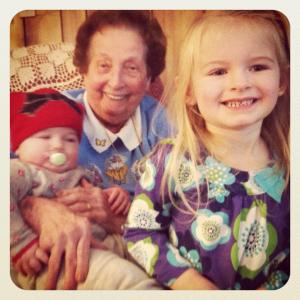 My Grandma with her two great-grandchildren, my two daughters.