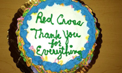 A resident at the West Chester University shelter made this cake for the Red Cross staff and volunteers in appreciation of all they do. February 8th, 2014