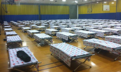 Cots set up last week at the shelter at West Chester University for residents affected by power outage. February 5, 2014