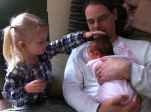 My Husband with our daughters, 2012