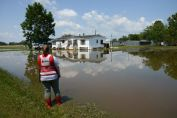 September 2, 2017. Wharton, Texas. A Red Cross worker assesses damage and standing water levels in Wharton, Texas nine days after Hurricane Harvey made impact in Texas. Photo by Daniel Cima for the American Red Cross